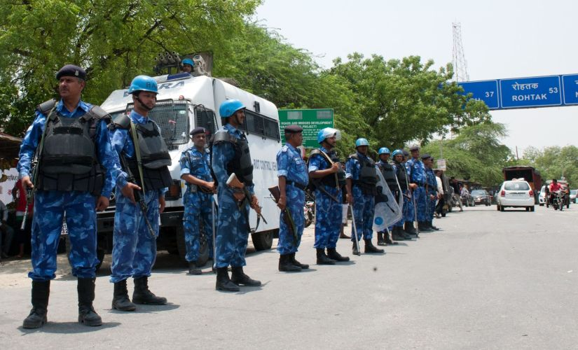 RAF personnel guarding National Highway 1, Rai Chowk and market. Naresh Sharma
