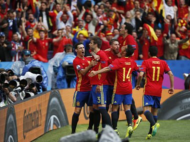 Spain's Gerard Pique celebrates after scoring against Czech Republic. Reuters