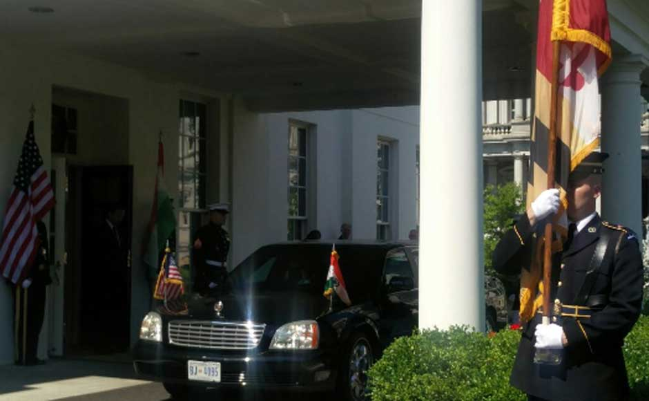 Prime Minister Narendra Modi's official vehicle at the White House. Image courtesy MEA