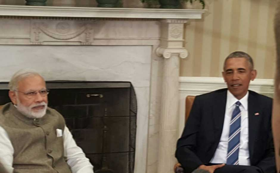 We are working shoulder to shoulder, we are proud. Will continue working together, says Prime Minister Narendra Modi at the joint press meet with US President Barack Obama. Image courtesy MEA