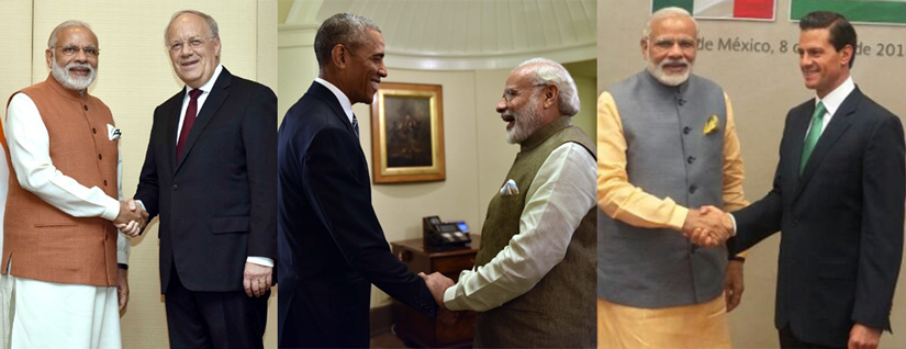 On his five-day tour, Prime Minister Narendra Modi secured the support of Swiss president Johann Schneider-Ammann (left), US president Barack Obama (centre) and Mexican president Enrique Peña Nieto (right) for India's membership in the NSG. Twitter @narendramodi