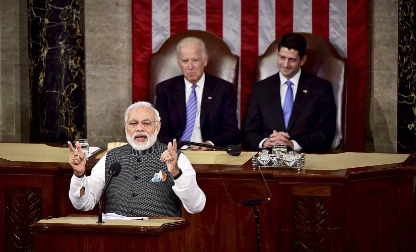 Prime Minister Narendra Modi gestures while addressing a joint meeting of Congress on Capitol Hill in Washington on Wednesday. PTI