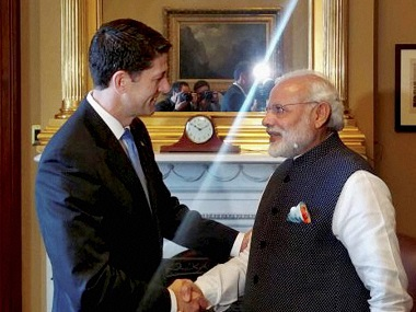 Prime Minister Narendra Modi is greeted by House Speaker Paul Ryan at Capitol Hill in Washington on Wednesday. PTI