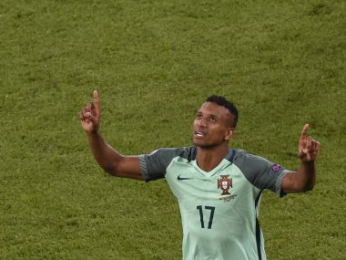 Nani celebrates scoring a goal during the Euro 2016 semi-final match against Wales. AFP