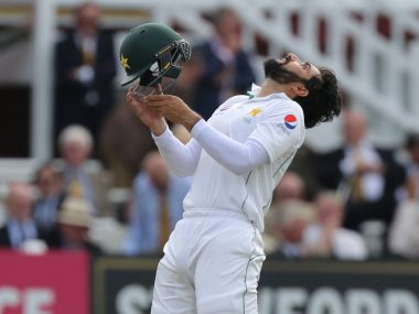 Misbah-ul-Haq celebrates his century on the first day of the first Test match against England. AFP