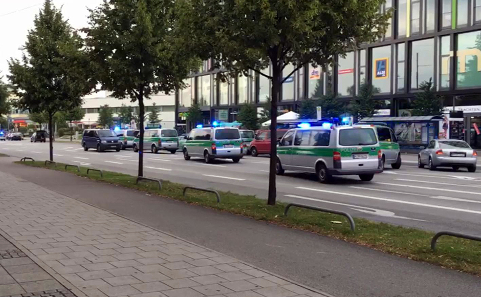 Emergency services respond to a shooting at a shopping center in Munich, Germany, Friday July 22, 2016. Munich police confirm shots have been fired at Olympia Einkaufszentrum shopping center but say they don't have any details about casualties. Police are responding in large numbers. (Associated Press Television via AP)