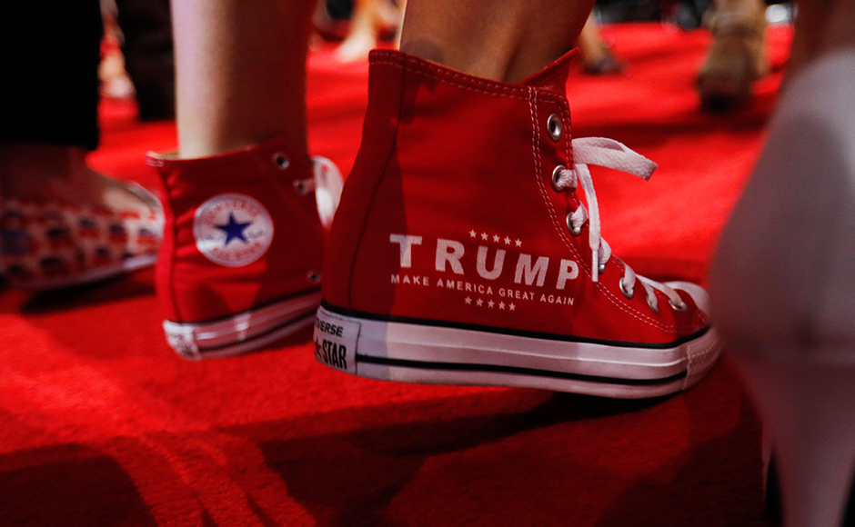 """Converse """"Make America Great Again"""" running shoes at the RNC. (REUTERS/Jonathan Ernst)"""