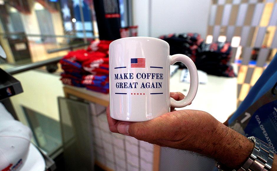 An American made coffee mug is seen on sale at the Republican National Convention in Cleveland, United States, July 17, 2016. (REUTERS/Rick Wilking)