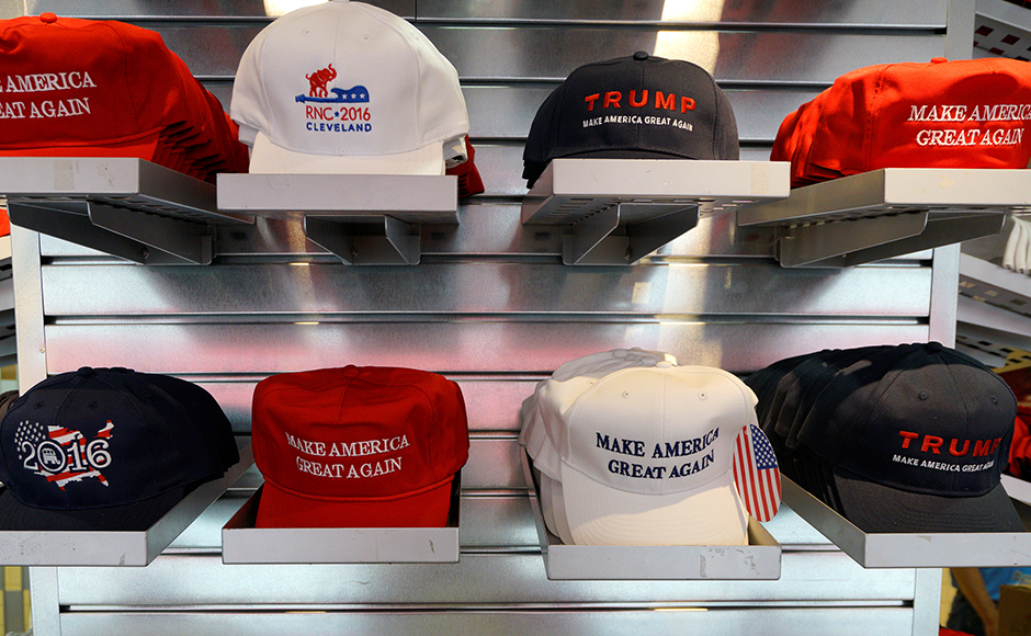 A selection of American made hats are seen on sale at the Republican National Convention in Cleveland, United States, July 17, 2016. (REUTERS/Rick Wilking)