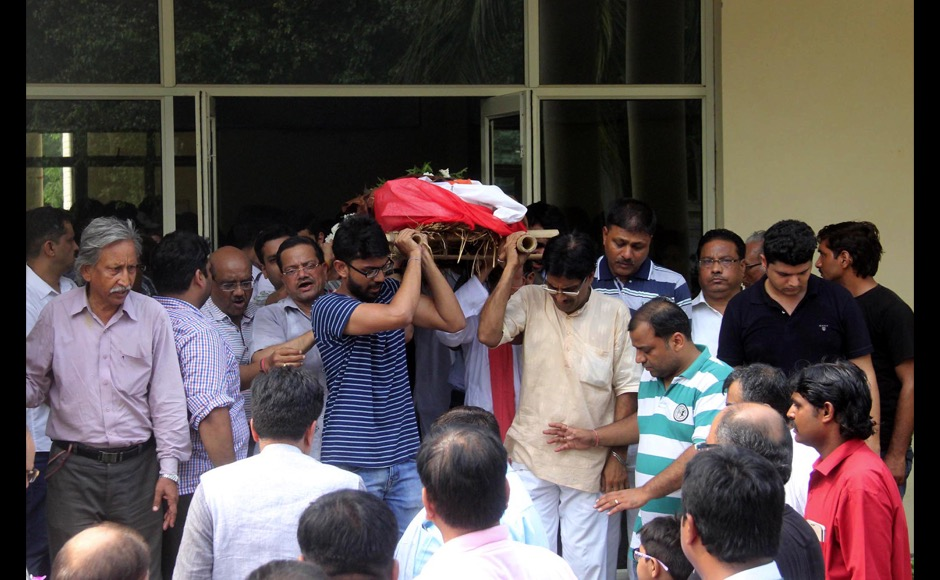 Relatives of the slain teenager Tarushi Jain carry her body for her last rituals, in Gurgaon, outskirts of New Delhi, India on July 4, 2016, after she was killed by attackers at a cafe in the Bangladeshi capital Dhaka late July 1. The Indian teenager was among 20 foreigners who were killed after being taken hostage by a group of attackers at an upmarket cafe in Bangladesh capital Dhaka . (Jyoti Kapoor/ SOLARIS IMAGES)