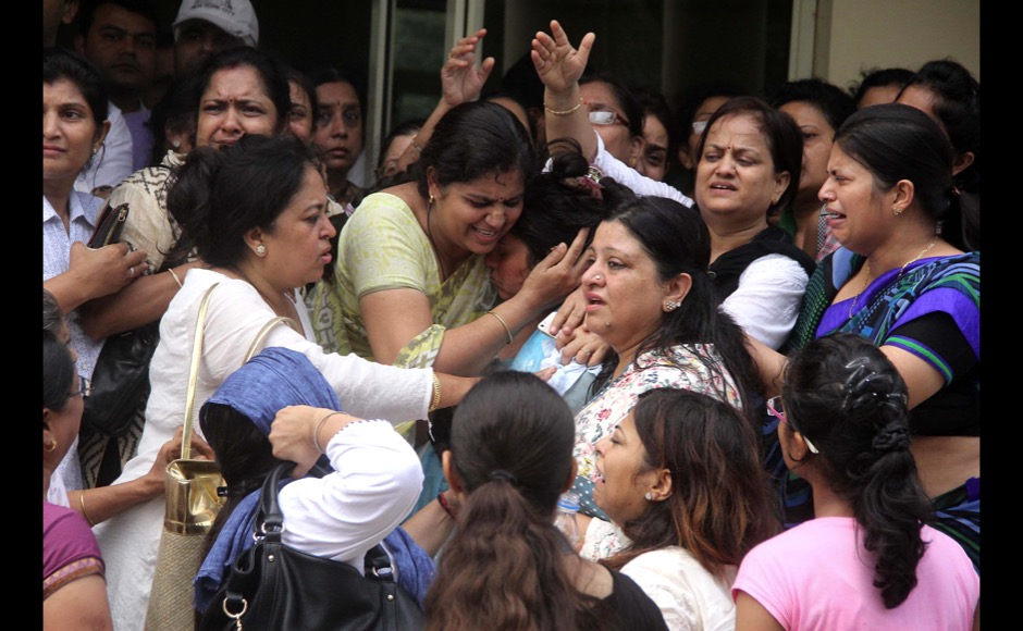 Friends and relative mourn the death of teenager Tarushi Jain in Gurgaon, outskirts of New Delhi, India on July 4, 2016, after she was killed by attackers at a cafe in the Bangladeshi capital Dhaka late July 1. The Indian teenager was among 20 foreigners who were killed after being taken hostage by a group of attackers at an upmarket cafe in Bangladesh capital Dhaka . (Jyoti Kapoor/ SOLARIS IMAGES)
