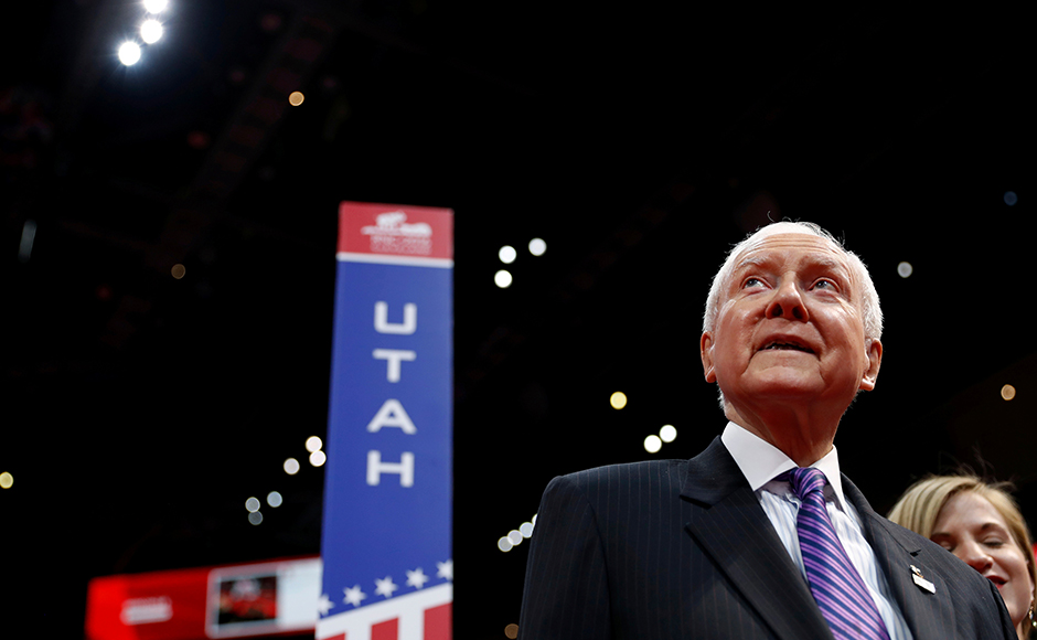 Sen. Orrin Hatch (R-UT) surveys the floor of the Republican National Convention from the seats of the Utah delegation in Cleveland, Ohio, U.S., July 17, 2016. (REUTERS/Mark Kauzlarich)