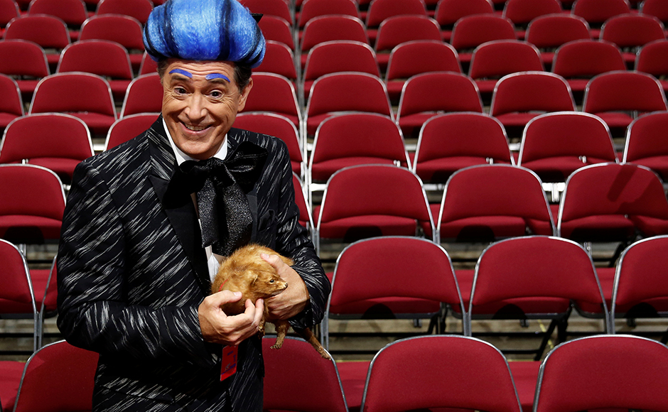 CBS television comedian Stephen Colbert films comedy bits with his crew on the floor of the Republican National Convention in Cleveland, Ohio, U.S. July 17, 2016. (REUTERS/Jonathan Ernst)