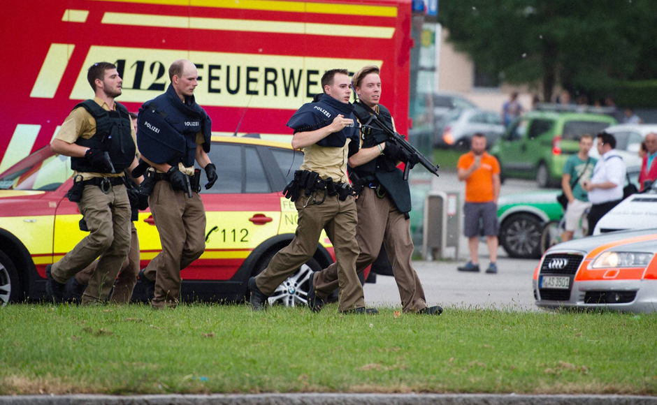 olice in Munich, Germany respond to a shooting at a shopping center in the city on Friday. Cops confirmed that shots were fired at Olympia Einkaufszentrum shopping center. AP