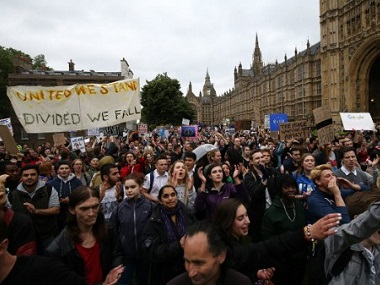 A protest against Brext in London. AFP.