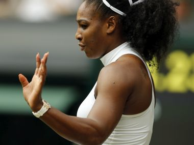 Serena Williams gestures during her women's singles match against Annika Beck. AP