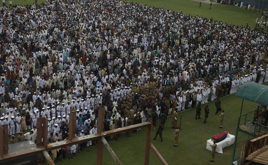 People attend funeral of Pakistan's renowned social worker Abdul Sattar Edhi in Karachi, Pakistan, Saturday, July 9, 2016. Tens of thousands of people attended Saturday the state funeral for Pakistan's legendary philanthropist, Abdul Sattar Edhi, in Karachi, officials said. (AP Photo/Shakil Adil)