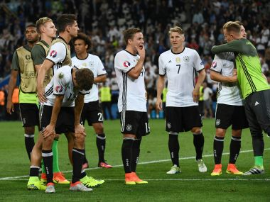 Germany players react after the loss. AFP