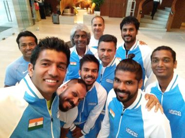 A selfie of the Indian Davis Cup team posted by Rohan Bopanna on Twitter.