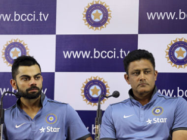 Indian skipper Virat Kohli and coach Anil Kumble at a press conference in Bengaluru. AP