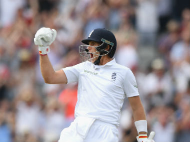 Joe Root exults after getting to his double-century. Getty Images