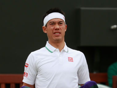 Kei Nishikori pictured during his fourth round clash against Marin Cilic in the ongoing Wimbledon. Getty Images