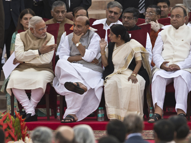PM Modi along with senior cabinet ministers. File photo. AFP