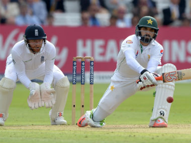 Pakistan captain Misbah-ul-Haq remained unbeaten on 110 at the end of the first day. AP