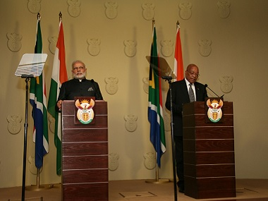 Prime Minister Narendra Modi and President Jacob Zuma at the signing of the India-South Africa joint statement on Friday. Twitter/@MEAIndia