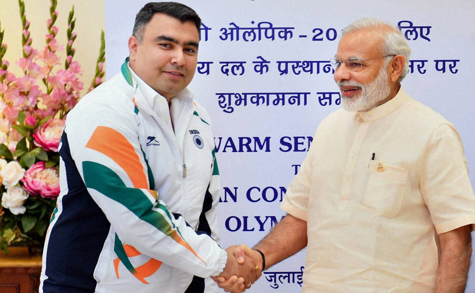 PM Modi greeted each member of 103-strong contingent during the send-off ceremony. Modi shook hands with shooter Gagan Narang. PTI