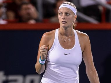 Petra Kvitova celebrates winning against Magda Linette at the Rogers Cup. Getty
