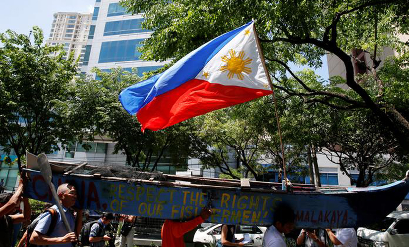 South China Sea arbitration Philippine activists protest outside Chinese Embassy in Manila