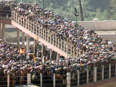 File image of Hindu pilgrims queueing outside the Sabarimala Temple. Reuters