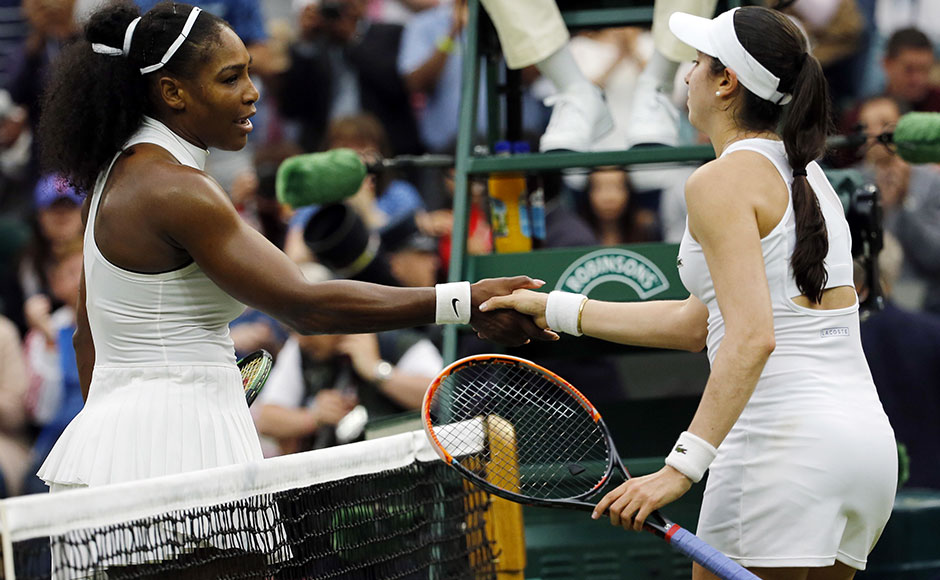 "Serena Williams shakes Christina McHale's hand after a hard fought win.""It was a really good match. She played great and she always plays great against me,"" Williams said after seeing off the world number 65. AP"