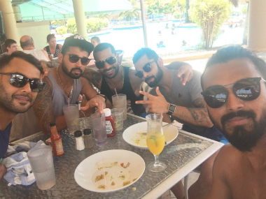 An image of Indian players relaxing in the Caribbean during the break between the practice games. Photo courtesy: Shikhar Dhawan via Twitter.