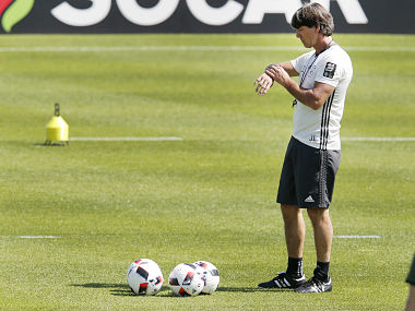 Germany coach Joachim Loew attends a training session ahead of the quarter final clash against Italy. AP