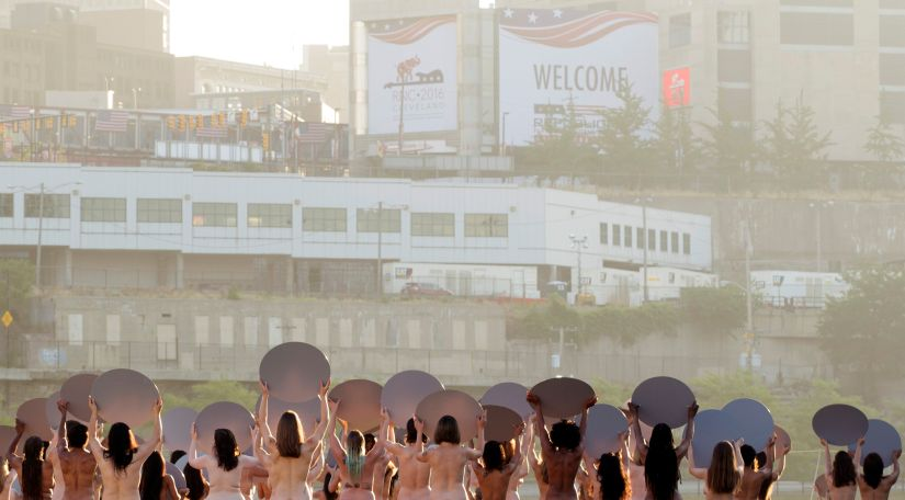 """Women pose nude for photographer Spencer Tunick's art installation """"Everything She Says Means Everything"""" near the location of the Republican National Convention in Cleveland. Reuters"""