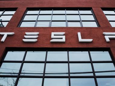 Tesla Motors logo. Reuters