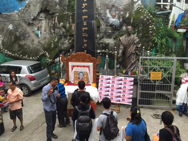 Exiled Tibetians in Mcleod Ganj protesting against the ongoing Kalchakra