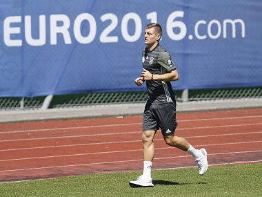 Toni Kroos runs all by himself during a training session of the German team at their base camp in Evian-Les-Bains, France, ahead of their semi-final clash with France. AP