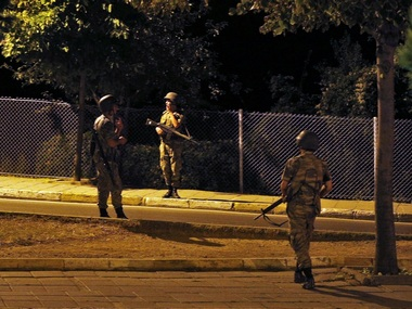 Turkish soldiers are seen on the Asian side of Istanbul after an attempted coup. AP