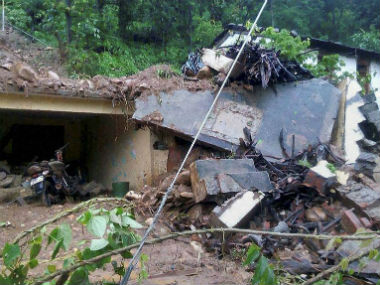 Houses were damaged due to the cloudburst in Uttarakhand. PTI