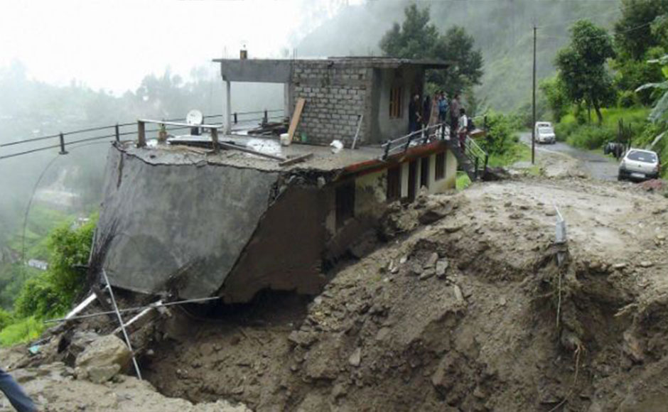 A washed away road after cloud burst in Thipak area of Chamoli district in Uttarakhand. PTI