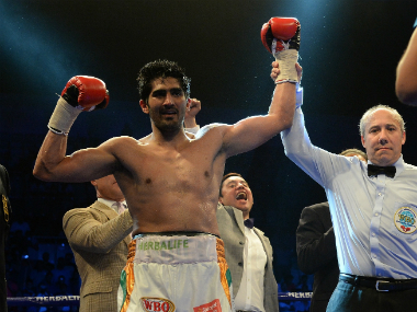 Vijender Singh is crowned the new WBO Asia Pacific Champion. AFP