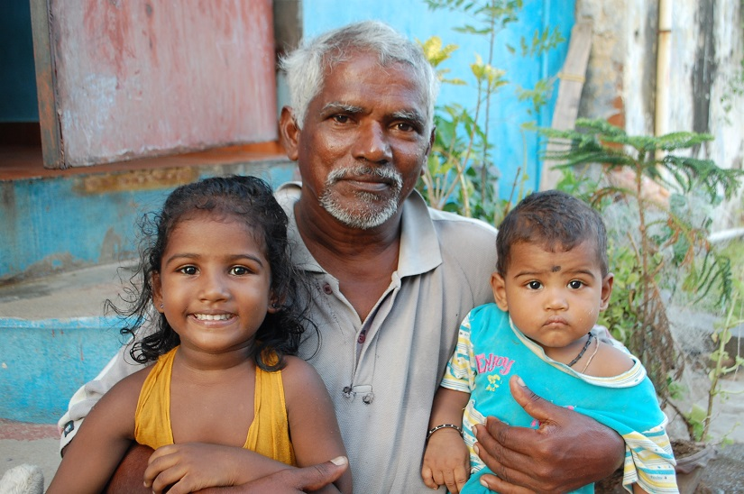 Kamali with her father, and brother Harish