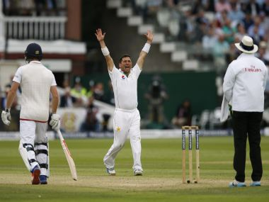Pakistan's Yasir Shah appeals for a wicket. Reuters