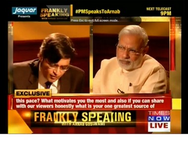 Screengrab from Arnab Goswami's interview with PM Modi. Photo courtesy: Youtube