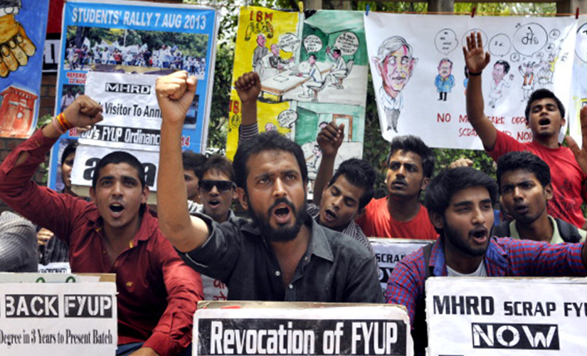 Student organizations protesting against FYUP at North Campus of Delhi University. Getty Images