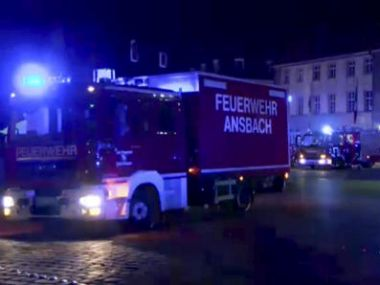 Fire trucks and ambulances stand in Ansbach near Nuremberg on Monday. AP