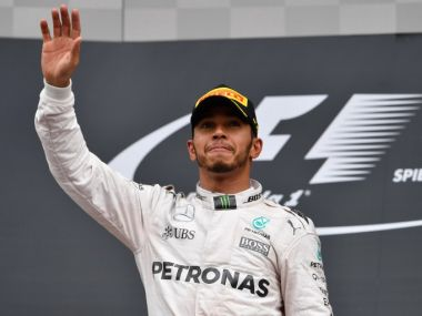Lewis Hamilton after winning the Austrian Grand Prix. AFP